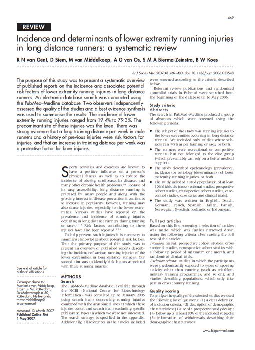 Incidencia y determinantes de las lesiones por correr en las extremidades inferiores en corredores de larga distancia: una revisión sistemática